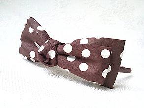 Ozdoby do vlasov - Pin Up headband (brown with white polka dots) - 6854492_