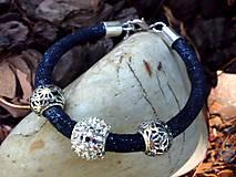 - náramok Pandora  modrý so štrasovou korálkou - 6855317_
