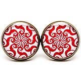 Náušnice - Red Tribal Spiral Sun - 6853095_
