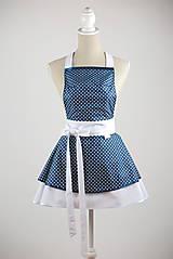 Iné oblečenie - ŠATOVÁ KUCHYNSKÁ ZÁSTERA RETRO BLUE CHIC - 6854657_