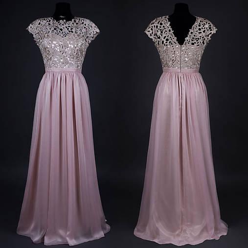 Spoločenské šaty s hrubou krémovo-zlatistou krajkou