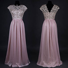 fd57fc73757a Šaty - Spoločenské šaty s hrubou krémovo-zlatistou krajkou - 6854540