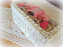 Košíky - Košík, krabička s vrchnákom orchidea - 6854317_