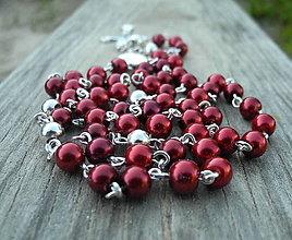 Náhrdelníky - perličkový ruženec bordový - 6854077_