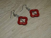 Náušnice - Červené štvorčeky - 6858889_