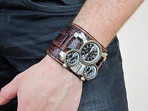 Náramky - Steampunk kožené hodinky, modrá niť - 6859079_