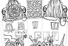 Socha - Balíček/2 omaľovánky-minidomčeky (digitálna verzia/tlač doma) - 6857654_