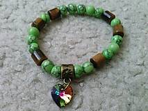Zelený tyrkys, Tigrie oko a Swarovski srdiečko