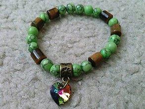 Náramky - Zelený tyrkys, Tigrie oko a Swarovski srdiečko - 6858730_