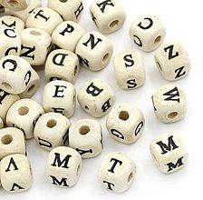 Korálky - Drevené korálky písmenká natur (balíček 200ks) - 6857450_