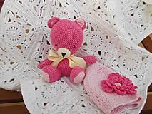 Textil - Darček pre novorodenca - deka,macko,čiapka - 6857652_