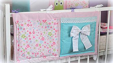 Textil - Bočný vreckár Princezná na postieľku 35x70cm - 6862755_