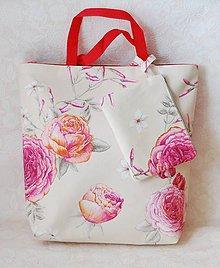 Veľké tašky - Tote Bag Rose/Veľká taška spolu s taštičkou - 6860771_