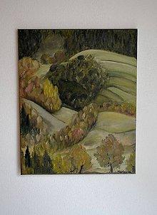 Obrazy - Maľovaný obraz-Polia a lesy - 6861231_