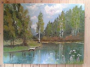 Obrazy - brezy pri rieke - 6860273_