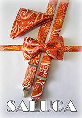 Luxusný set vzorovaný, červený motýlik + traky + vreckovka - svadobný, na oslavu