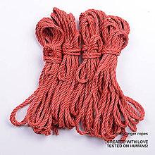 Nezaradené - Jutový provaz 5 mm červený – 4 ks pro bondage - 6862585_