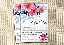 Papiernictvo - Svadobné Oznámenie - Modré a ružové kvety (pay&download) - 6859614_