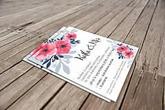 Papiernictvo - Svadobné Oznámenie - Modré a ružové kvety (pay&download) - 6859615_