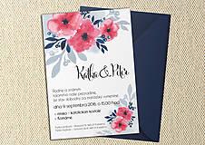 Papiernictvo - Svadobné Oznámenie - Modré a ružové kvety (pay&download) - 6859618_