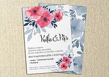 Papiernictvo - Svadobné Oznámenie - Modré a ružové kvety (pay&download) - 6859624_