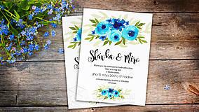 Papiernictvo - Svadobné Oznámenie - Tyrkysové kvety (pay&download) - 6860220_