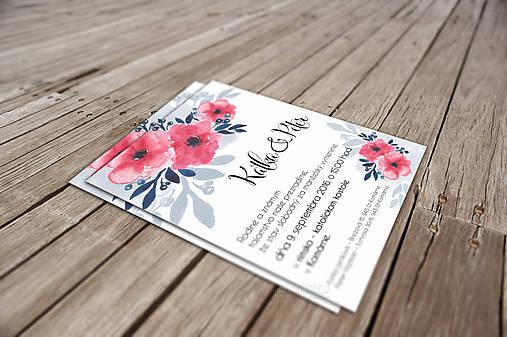 Svadobné Oznámenie - Modré a ružové kvety (pay&download)