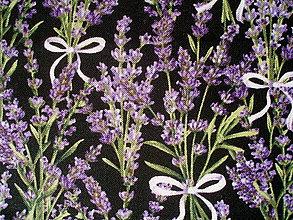 Textil - Lavender Market - kytičky na čiernej - 6863823_