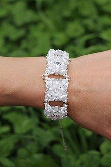 Náramky - Náramek Svatební Crystal White Swarovski + Dárková krabička - 6865315_
