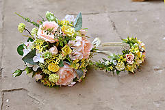 Kytice pre nevestu - Marhuľové ruže - kytička a venček - 6865909_