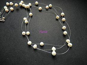 Náhrdelníky - Náhrdelník pavučina z riečnych perál - 6864361_