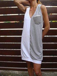 Šaty - SiVo  BieLe  šaTy s výSTrihoM  dO  V - 6864771_