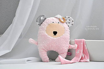 Textil - Macko baby ružový, s rolničkou a hrýzatkom - 6870020_
