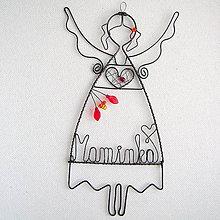 Dekorácie - anjelka s menom 17cm - mama - 6868127_