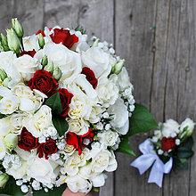 Kytice pre nevestu - Svadobná kytica Snehulienka z ruží a frézií - 6867551_