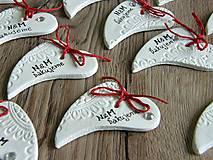 Darčeky pre svadobčanov - srdiečko keramické - zakrivené veľké - 6868119_