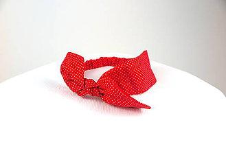 Ozdoby do vlasov - Čelenka červená bodkovaná - 6869513_
