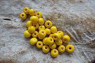 Korálky - Drevená korálka žltá 8mm - 6869197_