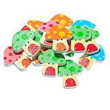 Galantéria - Drevené gombíčky hríbiky (balíček 5ks) - 6869673_