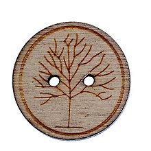 Galantéria - Drevený gombíček 25mm strom života - 6869459_