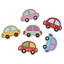 Galantéria - Drevené gombíčky autíčka (balíček 10ks) - 6869628_