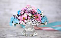 Ozdoby do vlasov - Svadobná kvetinová korunka - 6874164_
