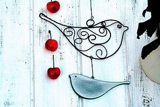 Dekorácie - drevený a drôtovaný vtáčik - 6873297_