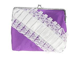 Kabelky - Dámská čipková kabelka bielo fialová 04R - 6876092_