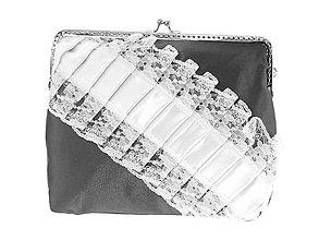 Kabelky - Dámská čipková kabelka bielo čierná 08R - 6876166_