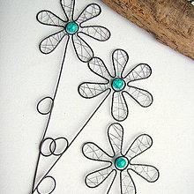 Dekorácie - Tyrkysovy zapich kvet - 6874900_