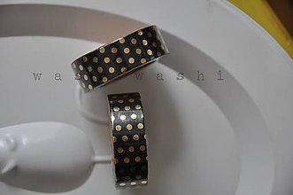 Papier - washi paska zlate bodky na ciernej - 6875889_