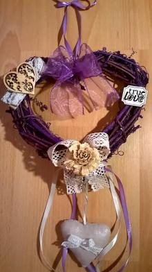 Dekorácie - ***VÝPREDAJ*** Svadobné vintage srdce fialové - 6877164_