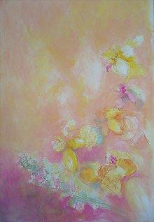 Kresby - Maľba -Kvety v ružovej rieke - 6874728_
