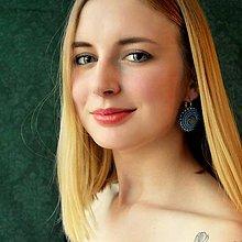 Náušnice - Blue Earings  - vyšívané náušnice - 6877476_